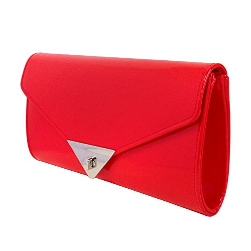 Women's Red JNB Clutch Candy Leather Patent Rdxf0S