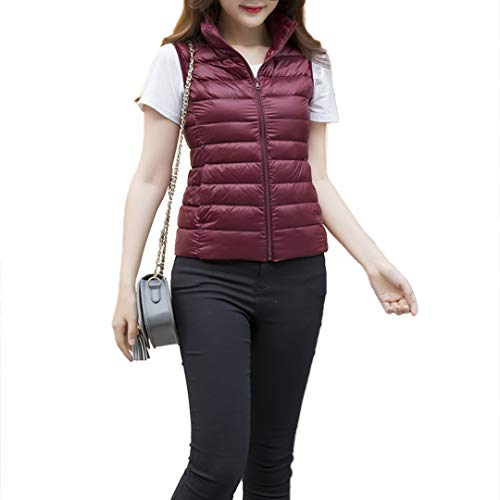 Down Wine Vest Lightweight Packable Vest Red Raylans Puffer Sleeveless Outdoor Women's UxqzX6I