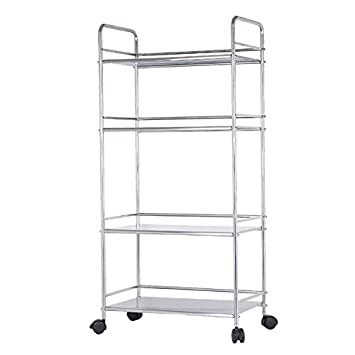 EPG Life 4 Tier Stainless Steel Kitchen Utility Cart Microwave Oven Rack,  Silver