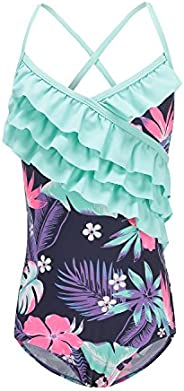 HowJoJo Girls One Piece Swimsuits Floral Swimwear Ruffle Bathing Suit