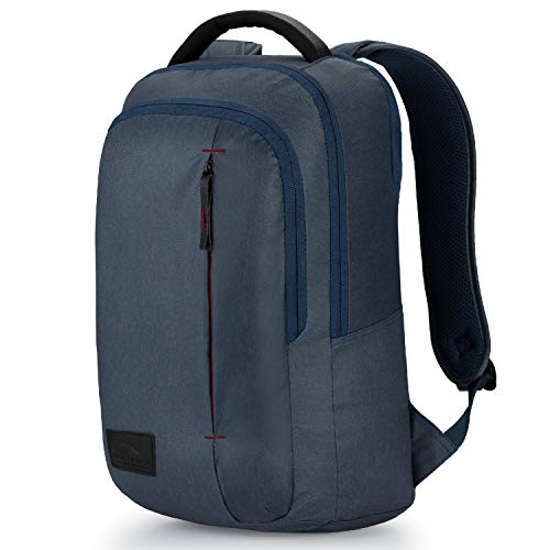 High Sierra Slim Business Backpack - Slim Travel Backpack with Laptop and Tablet Sleeve, Rustic Blue Heather/Chili -