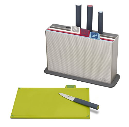Small Knife Storage Case - Joseph Joseph 60096 Index Plastic Cutting Board Set with 4 Matching Knives and Storage Case Color-Coded Dishwasher-Safe Non-Slip, Small, Silver