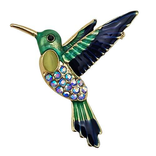 HAISWET Bird Blue Enamel Hummingbird Brooch Pin Crystal Gold Tone ()