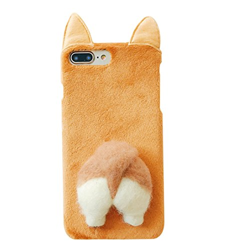 UnnFiko Soft Fur Case for iPhone 6, Cartoon Funny Cute Puppy Plush Animal Cat Butt Corgi Tail Brown Ear Hair Creative Design 6s Phone Case for Girls Women (Brown Corgi, iPhone 6 / 6s)