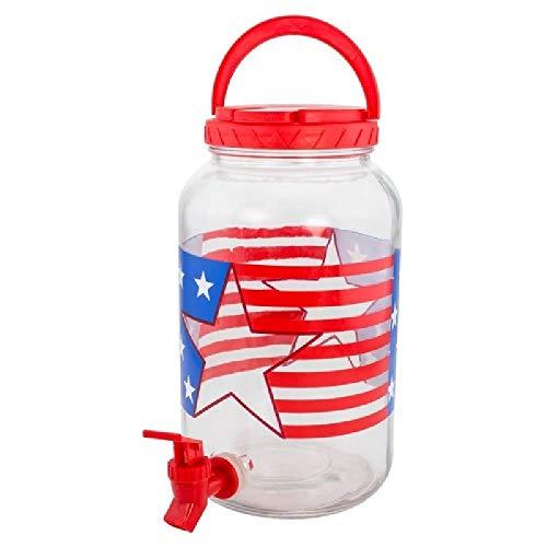 Patriotic Beverage Dispenser Glass Lemonade Tea Holds Patriotic Red White Blue Party BESTChoiceForYou