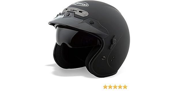 GMAX GM32 calle Open Face casco de moto con cámaras de seguridad y montaje – Soporte de color negro
