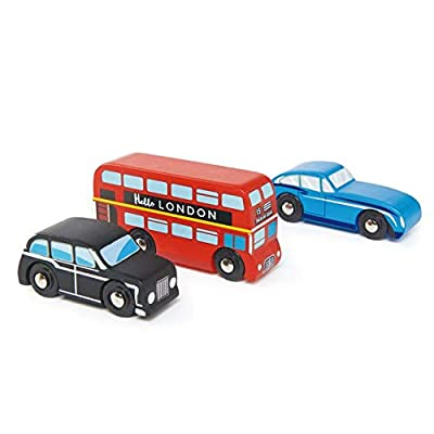 Tender Leaf Toys - London Car Set - Classic Car Set with Realistic London Bus, Vintage Jaguar Car and London Taxi - Encourages Imaginative Roleplay and Develops Fine Motor Skills for Children 3+: Toys & Games