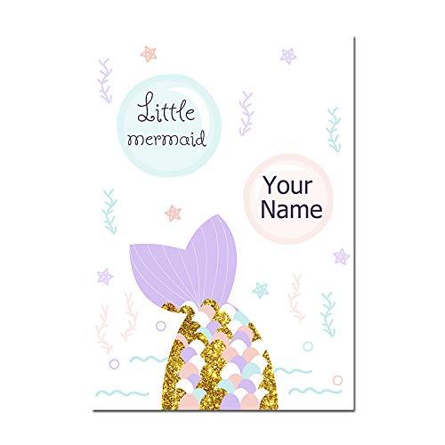 YLKWL Nombre Personalizado Cartel Sirena Bebé Nursery ...