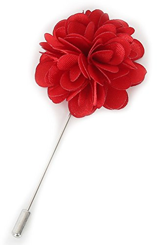 (Flairs New York Gentleman's Essentials Premium Handmade Flower Lapel Pin Boutonniere (Pack of 1 Pin, Crimson Red [Camellia]))