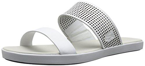Lacoste Women's Natoy Slide Flat Sandal, White, 6 M US