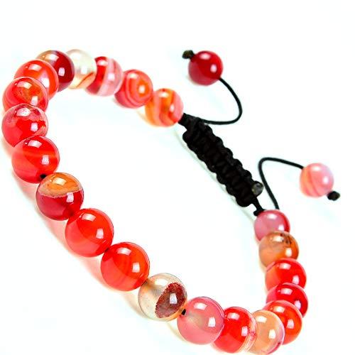 - Massive Beads Natural Healing Power Gemstone Crystal Beads Unisex Adjustable Macrame Bracelets 8mm (Agate Orange)