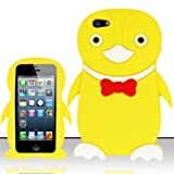 For iPhone 5 (AT&T/Sprint/Verizon/Cricket) Penguin 3D Design Silicon Case - Yellow SCPNG