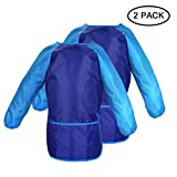 2 Pack Children's Art Smocks, Kids Painting Aprons, Waterproof Artist Smocks For Kids, Long Sleeve Painting Apron with 3 Roomy Pockets