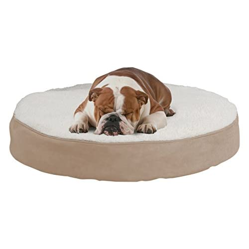 well-wreapped Round Pet Bed-Memory Foam Pillow Top Reversible Cat and Dog Bed with Removable Sherpa / Micro-Suede Machine Washable Cover