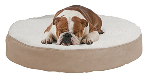 (PETMAKER Round Pet Bed- Memory Foam Pillow Top Reversible Cat and Dog Bed with Removable Sherpa/Micro-Suede Machine Washable Cover 30 x 5)