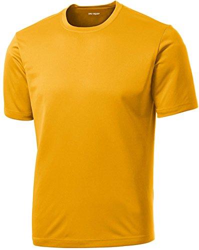 DRIEQUIP Men's Short Sleeve Moisture Wicking Athletic T-Shirt-Gold-S ()