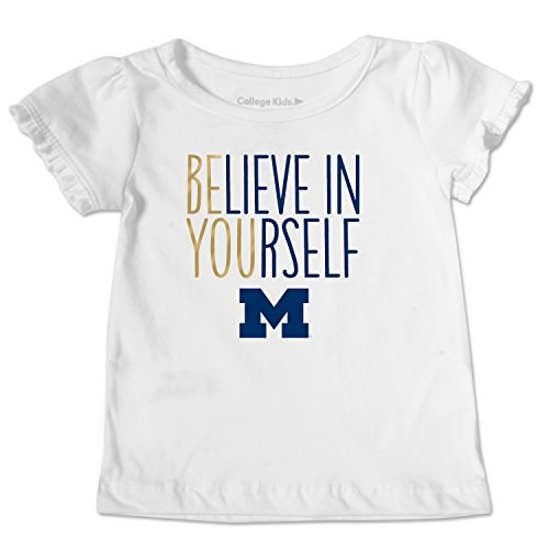 NCAA Michigan Wolverines Toddler Ruffle Tee, 2 Toddler, White