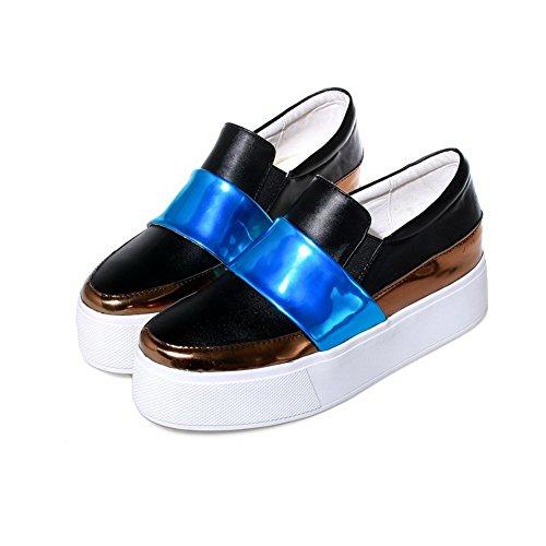Amoonyfashion Donna Materiale Morbido Pull-on Tacco Chiuso Scarpe-tacco-scarpe Blu