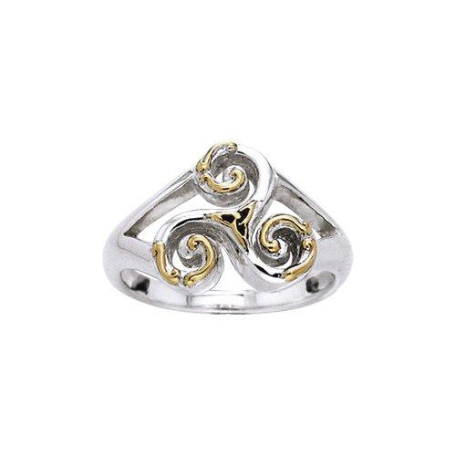 Celtic Triskele Sterling Silver & Gold Ring
