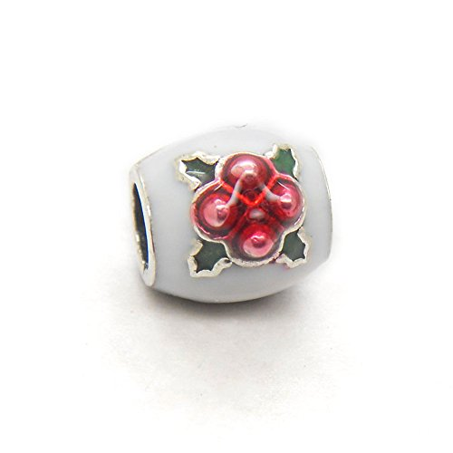 Pudding Charm (Christmas Gift Genuine Authentic 925 Sterling Silver Christmas Pudding White&Brown Enamel Charm For Pandora Bracelet Beads+ gift)