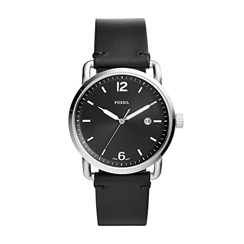 mmuter' Quartz Stainless Steel and Leather Casual Watch, Color:Black (Model: FS5406) ()