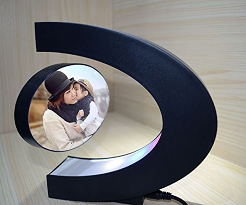 Glovion DIY C Shape Magnetic Levitation Anti Gravity Suspending Photo Picture Frame -Colorful Decoration Light