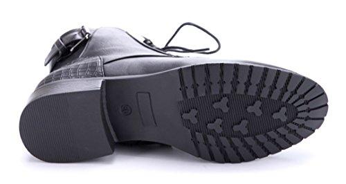 Schuhtempel24 Damen Schuhe Klassische Stiefeletten Stiefel Boots Blockabsatz Schnalle 3 cm Schwarz