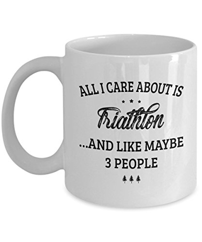 Triathlon Mug - I Care And Like Maybe 3 People - Funny Novelty Ceramic Coffee & Tea Cup Cool Gifts for Men or Women with Gift Box