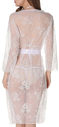 XYlove Women's Sexy Lace Long Robe Lingerie Set(4 Pieces)