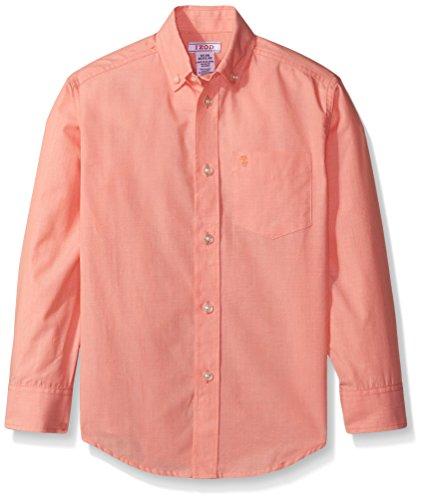 IZOD Kids Big Boys' Micro Thin Stripe Woven Shirt, Bright Orange, Large