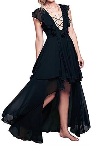 R.Vivimos Women Lace-up Summer Sleeveless Deep V Neck Sexy Dresses Medium Black - Hot Sexy Black Formal Dress