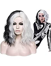 Black and White Cruella Wigs Short Curly Wavy Bob Hair Wigs with Bangs Heat Resistant Synthetic Wigs Halloween Party Cosplay Wig