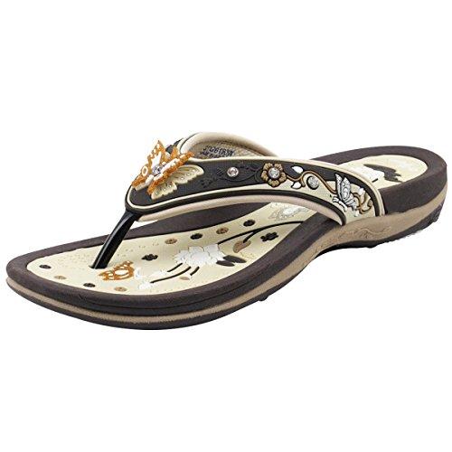 Gold Pigeon Shoes GP Signature Flip Flops for Women: 8160 Brown Beige, EU38 (US Size 7-7.5)