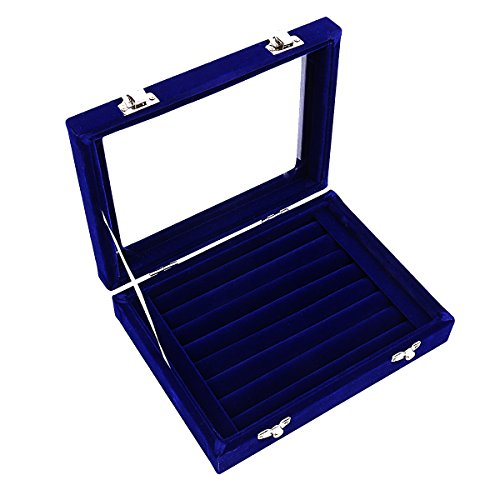 Ivosmart 7 Slots Velvet Glass Ring Jewelery Display Storage Box Tray Case Holder Earring Organizer Stand Blue - Covered Jewelry Box