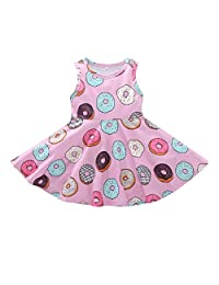 i-Auto Time Toddler Baby Girl Dress Doughnut Print One-Piece Skirt Sleeveless Dresses