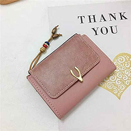 YOIOY Women Clutch Long Purse Small Wallet Female Short Paragraph New Korean Version of Simple Student Buckle Wallet Cute Small Fresh Purse Card Package Color : Pink Color : Pink