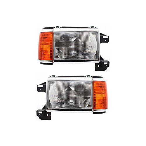- Headlight Set Of 2 For F-Series 87-91 Right and Left Side Assembly Halogen W/Side Marker Lamp W/Chrome Trim