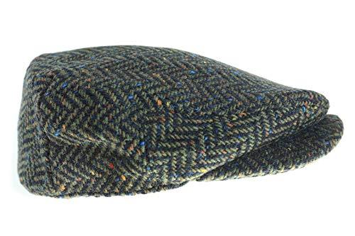 (Wool Driving Cap Extended Brim Tweed Green Herringbone Cap Made in Ireland XL)