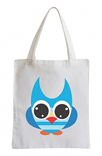 Gufo Raxxpurl Blu con i grandi occhi Fun sacchetto di iuta