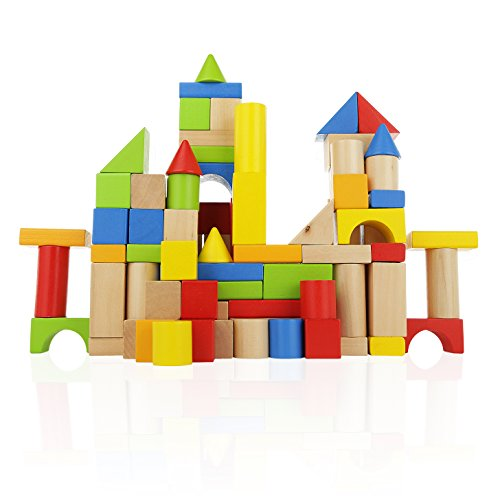 - Wooden Building Blocks Set - 100 pc for Toddlers Preschool Age - Classic Hardwood Plain & Colored Small Wood Block Pieces for Boys & Girls - Basic Educational Build & Play Toy