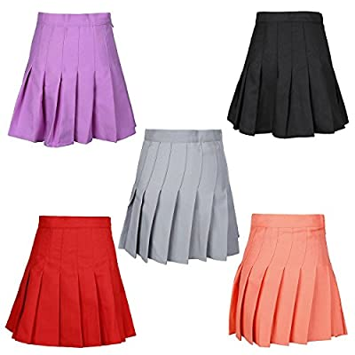 jntworld Womens Stylish Slim High Waist Solid Color Pleated Tennis Skirts