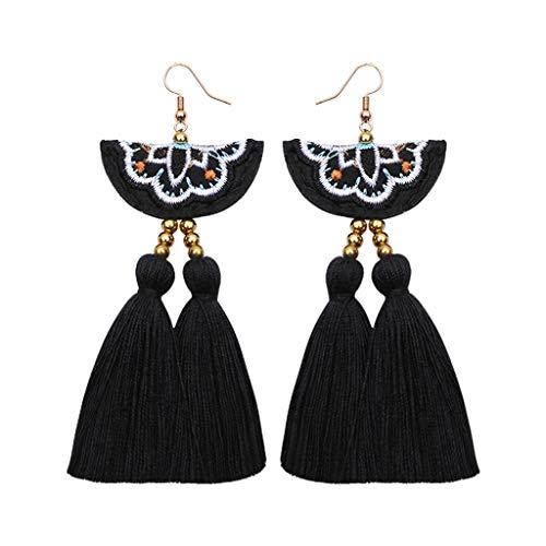 Elogoog Handcraft Gorgeous Long Tassel Drop Dangle Stud Earrings For Wedding Party Dance Jewelry -