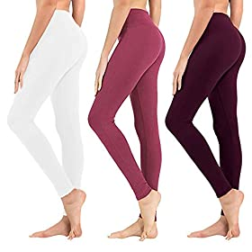 High Waisted Leggings For Women Soft Athletic Tummy Control Pants For Running Cycling Yoga Workout Reg Plus Size 3 Pack White Rose Pink Vintage Violet Extra Size Us 24 32