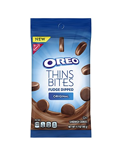 - Oreo Thins Bites Fudge Dipped Chocolate Sandwich Cookies, Original Creme, 8 Count Tray, 13.6 Ounce