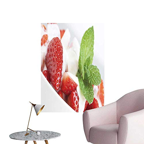 SeptSonne Wall Painting Strawberries Yogurt Dessert Decorate Mint High-Definition Design,28