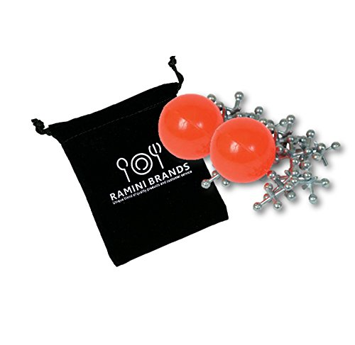 Ramini Brands Classic Ball and Metal Jacks Game Set with Velvet Carry Pouch and User's Guide - Jacks Ball Game