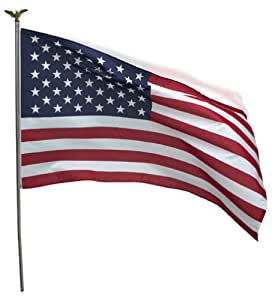 Valley Forge Flag 3 x 5 Foot Polycotton US  American Flag Kit with 6-Foot Steel Pole and Bracket
