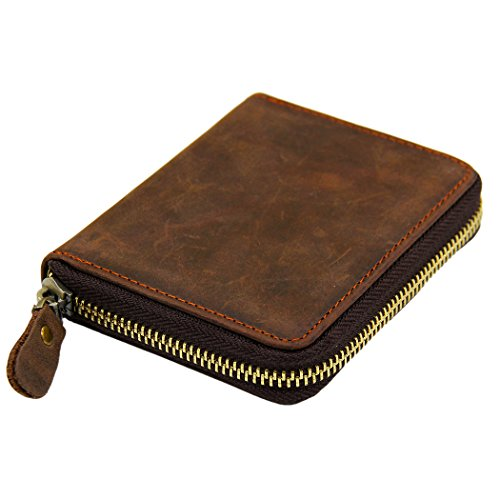 Manner Men's Vintage Genuine Crazy Horse Leather Zipper Bifold Wallet MA6065-2