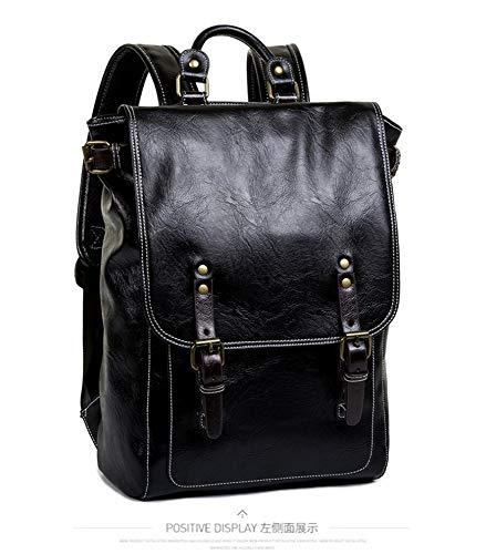 Men's Simple Square Soft PU Leather Black Backpack Waterproof Business Casual Backpack Student Bag Travel HandBag from Jasooo