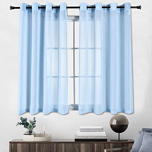 HUTO Sheer Curtains for Living Room 45 inches Length - Kitchen Sheer Curtain Panels Grommet Faux Linen Voile Window Curtain Set of 2 Panels,Baby Blue,52